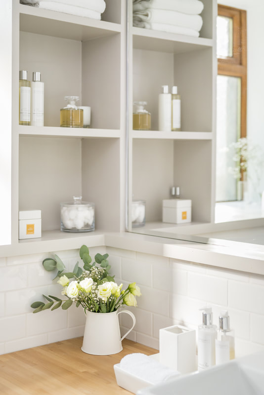 Storage shelves in the bathroom